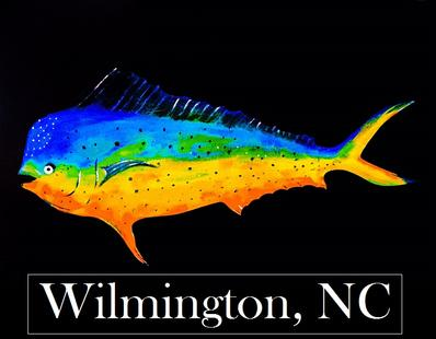 wilmington nc mahi sticker, mahi sticker, wilmington nc decal, ei nc sticker, emerald isle nc sticker, nc sticker, bogue banks nc, nc artist, barry knauff, cape careret nc sticker, emerald isle nc, shark sticker, ei sticker, morehead city sticker, morehead city decal, morehead city blue marlin sticker