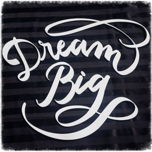 Dream Big sign laser cut out of plywood, hung on wall for baby shower, white with gold glitter, laser cut wood sign, Inkchanted, Inkchanted Paper & Designs