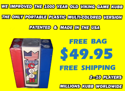 www.kubb.games plastic colorful kubb sets made in the USA