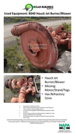 Hauck Jet Burner/Blower Missing: Motor/Stand/Tags Has Refractory Cone