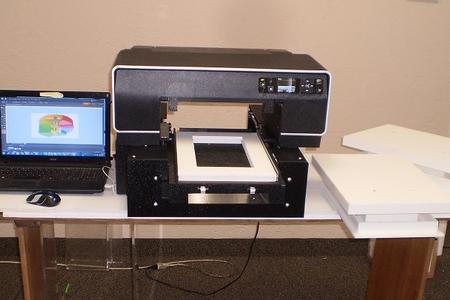 Flatbed platform printer, DTG, tee shirt printer, ceramic