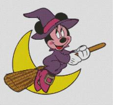 Cross Stitch Chart Minnie Mouse Halloween Witch