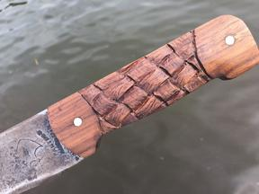 DIY Machete Makeover. Clean up the old rusty machete by adding a carved basket weave handle and celtic metal etching. www.DIYeasycrafts.com