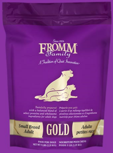 FROMM Gold Small Breed Adult dry dog food available in 15 and 5 pound bags