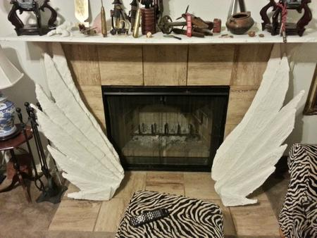 Angel's wings plaster of paris sculpture large 4 ft long each by jamey alexander artist
