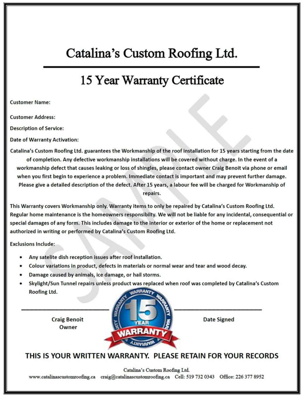 Craftsmanship warranty for Workmanship guarantee template
