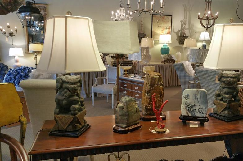 Pair of Antique vintage Chinese Green Foo Dog Table Lamps with Custom Bespoke Shades silk material