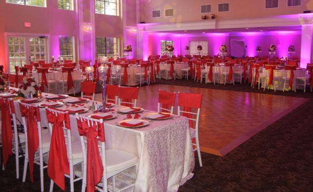 red satin table and chairs set-up