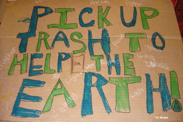 Pick Up Trash To Help The Earth kids poster
