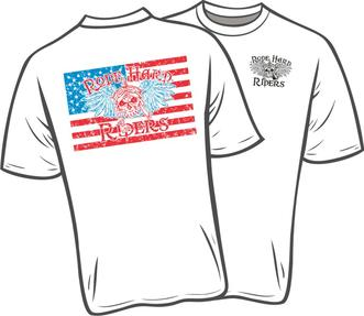 eda3597a RH 650 - Performance T-Shirt (Dri-Fit) white with one color RHR logo over  the heart and RHR Patriot Logo on the back $10.00