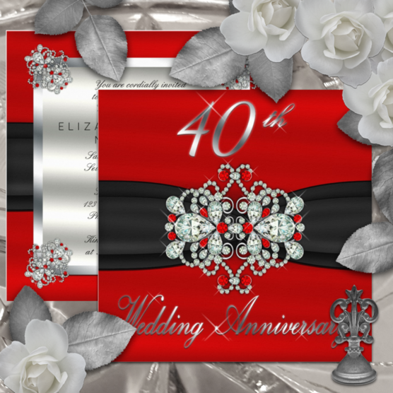 Elegant red, black and silver tone gated look 40th wedding anniversary invitations featuring a faux ruby and diamond look printed clasp on front and complementing style on back for your party details