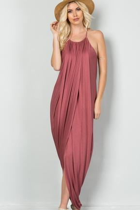 Marsala Drape Dress