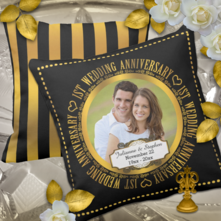 Elegant faux gold and black 1st anniversary photo keepsake pillow with a black and gold striped back