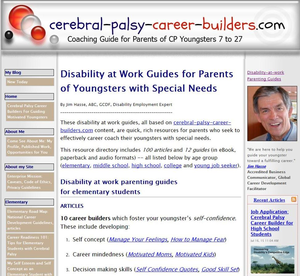 "Screen shot of this page from cerebral-palsy-career-builders.com: ""Disability-at-work Parenting Guides"""