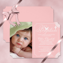 elegant vintage cornices and dove baby girl photo baptism invitations
