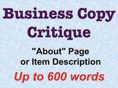Business Copy Critique up to 600 words