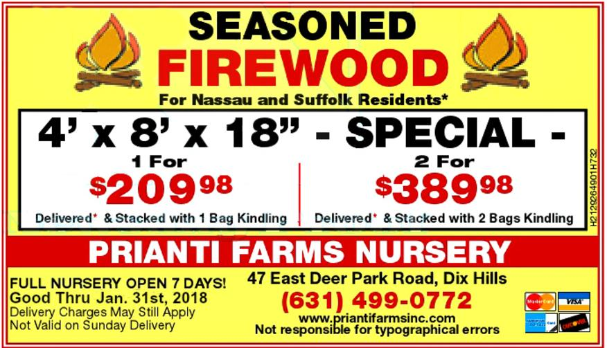 Seasoned Firewood Cord Sale Prianti Special Delivery Long Island