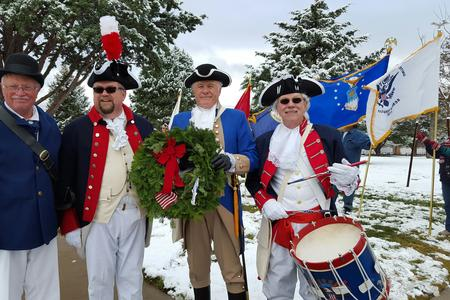 Four members of the Prescott Chapter took part in the Wreaths Across America program at the Prescott National Cemetery. It was snowing as our chapter led the procession with the Army Wreath. Pictured left to right: Captain Bill Smith, Ed Steinback, Steve Monez & Ed Lipphardt.