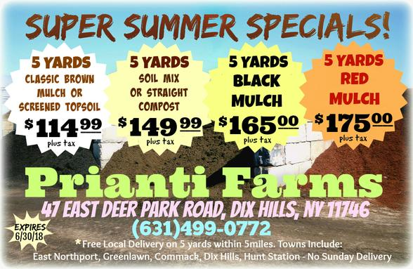 Prianti Mulch Soil Firewood Delivery Special Sale Seasoned Long Island