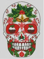 Cross Stitch Chart of Sugar Skull No 42 (Christmas)