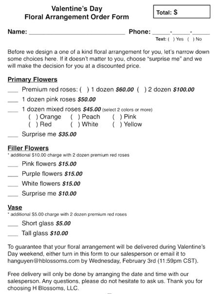 1f71d5422 Floral Arrangement Order Form