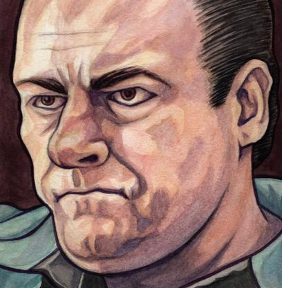 Watercolor painting of Tony Soprano from The Sopranos