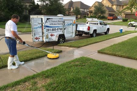 Driveway and Walk Pressure Washing in Cypress, Texas.