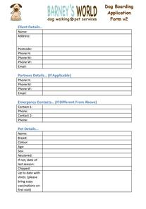Pet Sitting / Pet Visiting Application Form