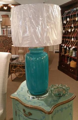 New Green Porcelin Table lamp with glass lucite base and white linen paper shade