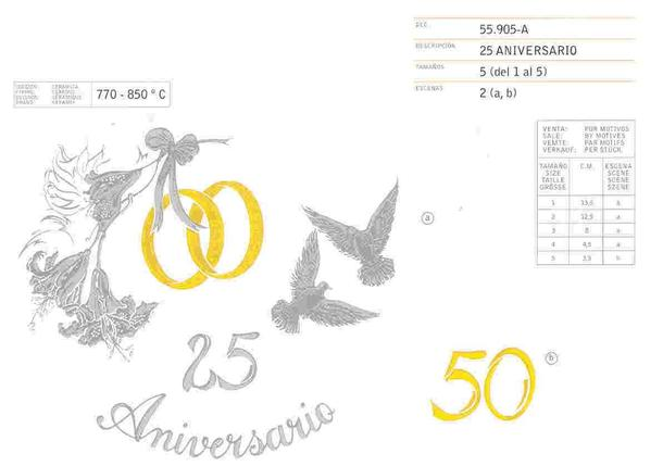 Anniversary Gold ceramic decals supplier by Calcodecal