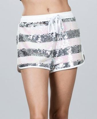 White Silver Sequin Shorts