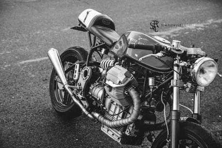 custom motorcycle work black and white