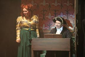 Mrs Lovett (Rebecca Evans) with cast member Gordon Collins