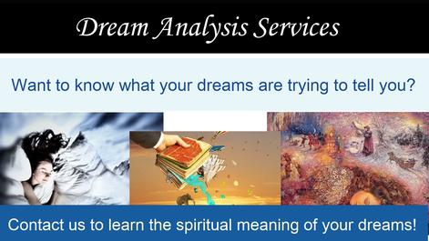 "Collage of woman sleeping on a bed, a dream interpretation book and a woman having vivid dreams in her sleep. Caption: ""Dream Analysis Services"" Asks: ""Want to know what your dreams are trying to tell you?"""