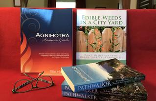 books, agnihotra, edible weeds, pathwalker fantasy fiction, ellie hadsall