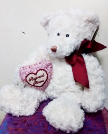White Cuddly Teddy Bear | Gifts | The Little Flowershop