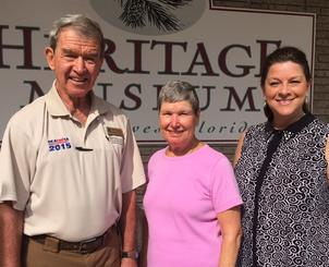 Museum Manager Gina Marini with Steve and Anne Czonstka in front of the Museum.