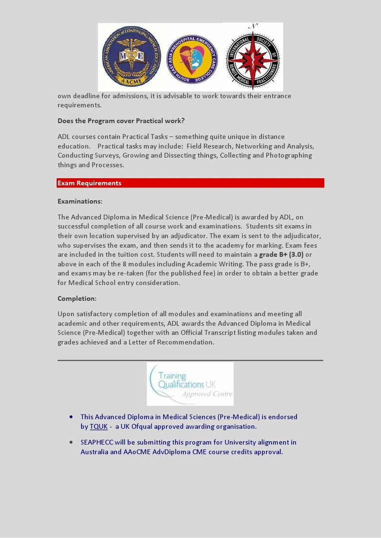 Advanced Diploma Premedicine-UK Partnership