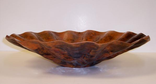 Scallop hammered copper bowl