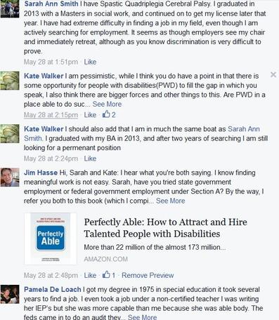 Facebook Discussion about disability's edge.