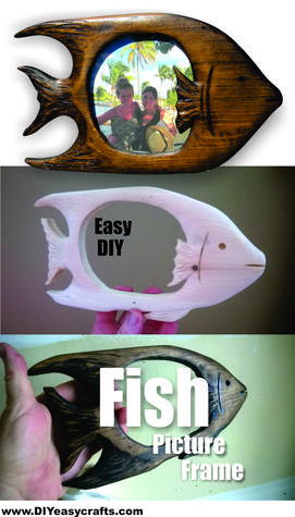 How to make a hand carved tropical fish picture frame. Check out all of our nautical DIY craft ideas. www.DIYeasycrafts.com