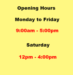 V4G opening times Monday to Friday 9 till 5 pm and Saturday 12 till 4pm