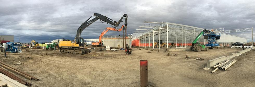 Screw pile installation project in Edmonton