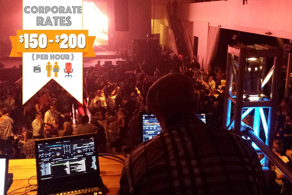 Stumptown DJs Corporate Events - Photo of large corporate event with DJ Drew and Stumptown DJ sound set up