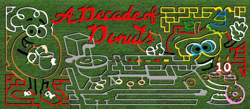 Picture of Hank's PumpkinTown Corn Maze Design, for 2018 it is Decade of Donuts