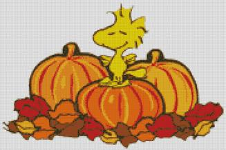 Cross Stitch Chart Pattern of Woodstock in the Pumpkin Patch