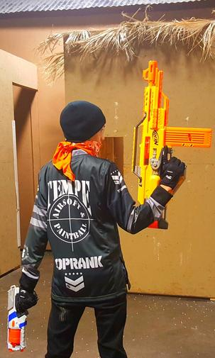 Our NERF WARS sessions are paid by the hour and includes use of a pair of  safety glasses and a rental Nerf Blaster if needed.