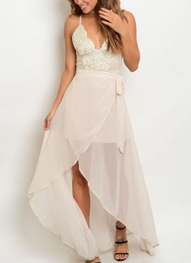 Beige Formal Lace Dress