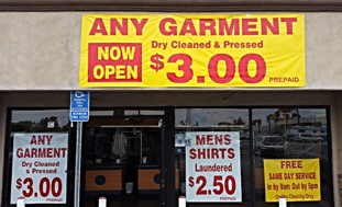 Green Wave Cleaners $3.00 Any Garment Dry Cleaned