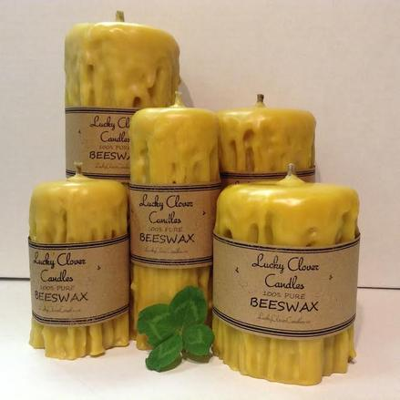 pure Canadian beeswax candles handmade in Ontario Lucky Clover Candles Hand dripped